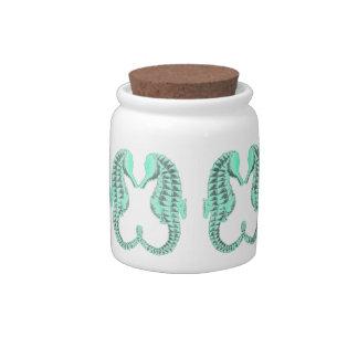 Vintage Kissing Sea Horses Candy Jars