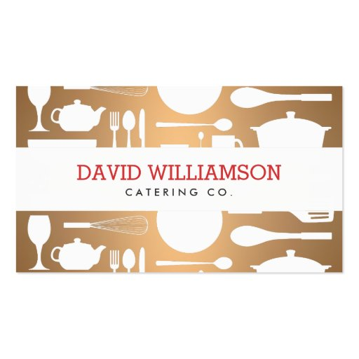 Vintage Kitchen Collage on Copper Chef, Catering Business Cards