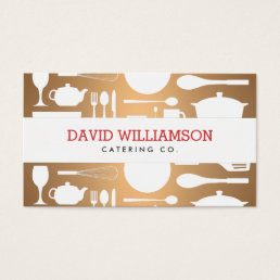 Vintage Kitchen Collage on Copper Chef, Catering Business Card