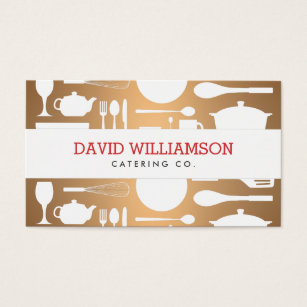 Catering service business cards templates zazzle vintage kitchen collage on copper chef catering business card colourmoves
