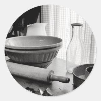 Vintage Kitchen Scene~Baking Day Classic Round Sticker