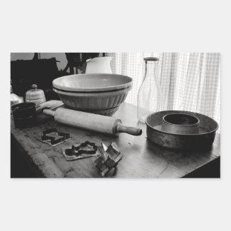 Vintage Kitchen Scene~Baking Day Rectangular Sticker