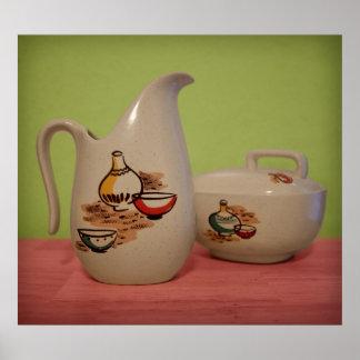 Vintage Kitchenware Pitcher Bowl Pottery Poster
