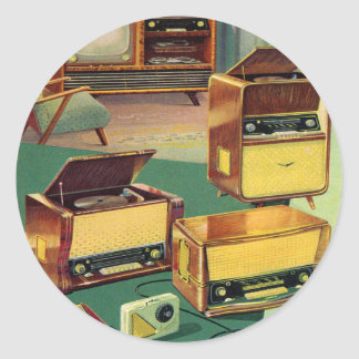 Vintage Kitsch 50s High Fidelity Stereo TV Sets Classic Round Sticker