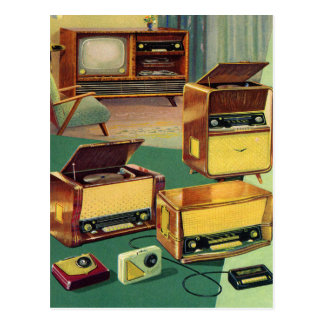 Vintage Kitsch 50s High Fidelity Stereo TV Sets Postcard