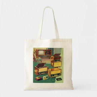 Vintage Kitsch 50s High Fidelity Stereo TV Sets Tote Bag