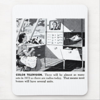 Vintage Kitsch 60s Color TV Ad Suburbs Wife Mouse Pad