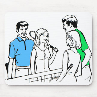 Vintage Kitsch 60s DoublesTennis Players Mouse Pad