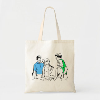 Vintage Kitsch 60s DoublesTennis Players Tote Bag