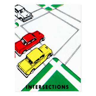 Vintage Kitsch 60s Drivers Ed Manual Intersections Postcard