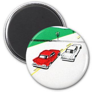 Vintage Kitsch 60s Drivers Ed Manual Train Cross 2 Inch Round Magnet