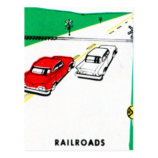 Vintage Kitsch 60s Drivers Ed Manual Train Cross Postcard