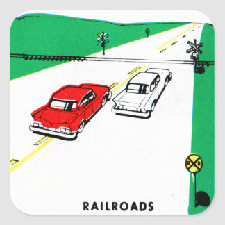 Vintage Kitsch 60s Drivers Ed Manual Train Cross Square Stickers
