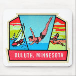 Vintage Kitsch 60s Dultuh Minnesota Travel Decal Mouse Pad
