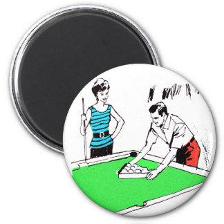 Vintage Kitsch 60s Pool Table Billards Players 2 Inch Round Magnet