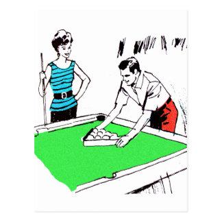 Vintage Kitsch 60s Pool Table Billards Players Postcard