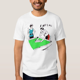 Vintage Kitsch 60s Pool Table Billards Players Tee Shirt