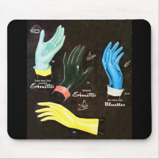 Vintage Kitsch 60s Rubber Gloves Cleaning Mouse Pad