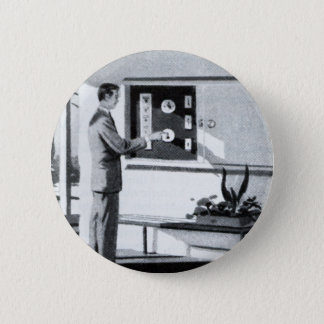 Vintage Kitsch 60s Suburbs Remote Control Home Pinback Button