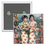 Vintage Kitsch Asian Advertisement Girls 2 Inch Square Button