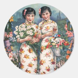 Vintage Kitsch Asian Advertisement Girls Classic Round Sticker