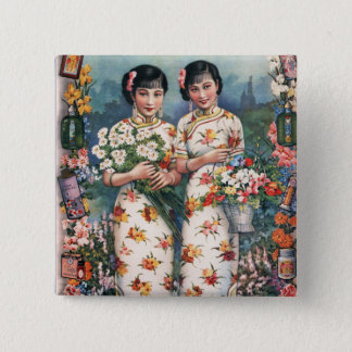 Vintage Kitsch Asian Advertisement Girls Pinback Button