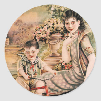Vintage Kitsch Asian Advertisement Woman Classic Round Sticker