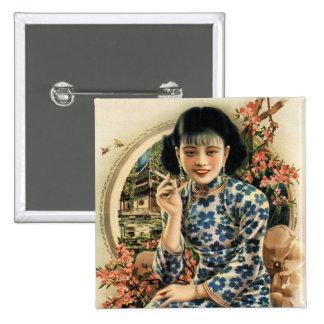 Vintage Kitsch Asian Cigarettes Advertisement Girl Pinback Button