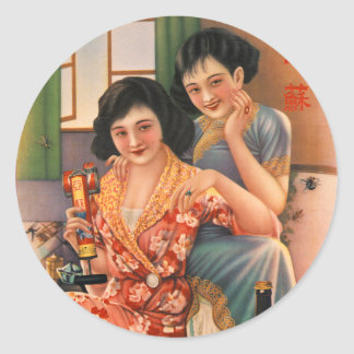 Vintage Kitsch Asian Insecticide Advertisement Classic Round Sticker