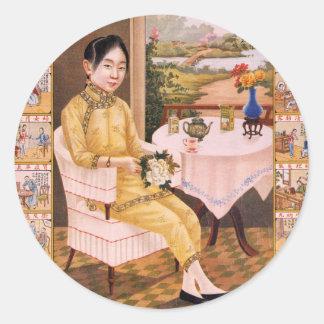 Vintage Kitsch Asian Tea Advertisement Girl Classic Round Sticker