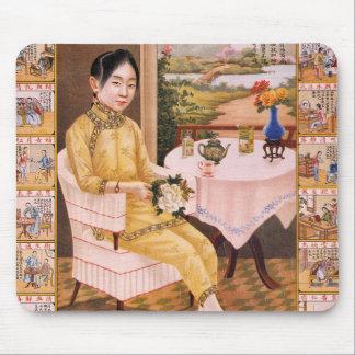 Vintage Kitsch Asian Tea Advertisement Girl Mouse Pad
