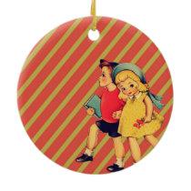 vintage kitsch back to school children retro kids ceramic ornament