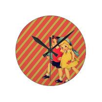 vintage kitsch back to school children retro kids round clock