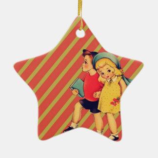 vintage kitsch back to school retro kids ceramic ornament