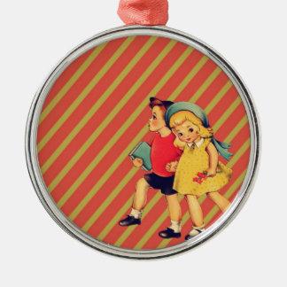 vintage kitsch back to school retro kids metal ornament