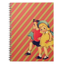 vintage kitsch back to school retro kids notebook