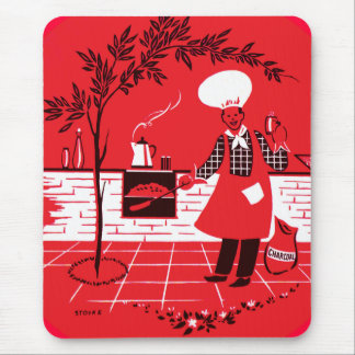 Vintage Kitsch BBQ Barbecue Suburban Dad Mouse Pad