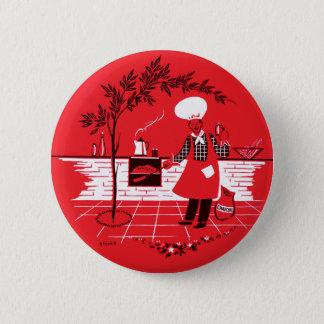 Vintage Kitsch BBQ Barbecue Suburban Dad Pinback Button