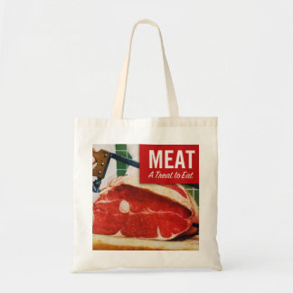 Vintage Kitsch Beef Meat it's A Treat To Eat Tote Bag