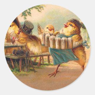 Vintage Kitsch Beer Octoberfest Chickens Hens Classic Round Sticker