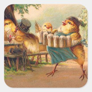 Vintage Kitsch Beer Octoberfest Chickens Hens Square Sticker