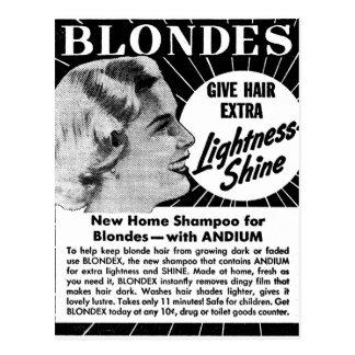 Vintage Kitsch Blondes 40s Shampoo Ad Postcard