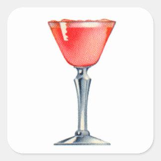 Vintage Kitsch Booze Cocktail Pink Lady Square Sticker