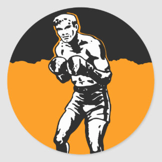 Vintage Kitsch Boxing Boxer in The Ring Classic Round Sticker