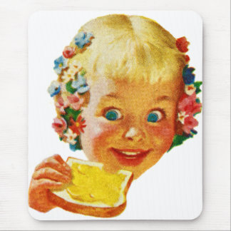 Vintage Kitsch Butter Loving Little Girl Ad Art Mouse Pad
