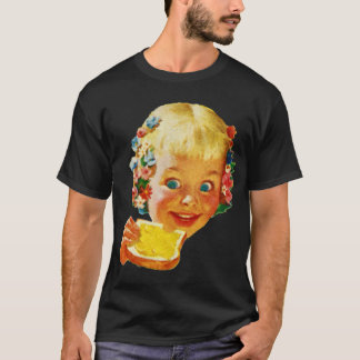 Vintage Kitsch Butter Loving Little Girl Ad Art T-Shirt