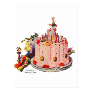 Vintage Kitsch Cakes 1930s Childrens Party Cake Postcard