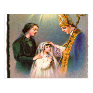 Vintage Kitsch Catholic Holy Card First Communion