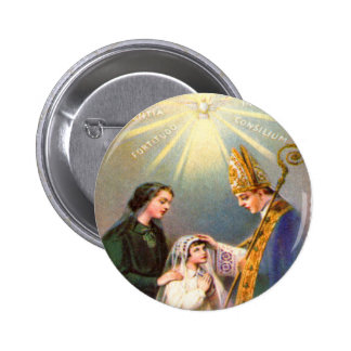 Vintage Kitsch Catholic Holy Card First Communion Button