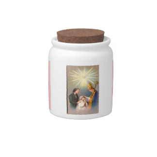 Vintage Kitsch Catholic Holy Card First Communion Candy Dish
